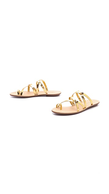 05d31eff9 Loeffler Randall Sarie Metallic Strappy Flat Sandals | SHOPBOP
