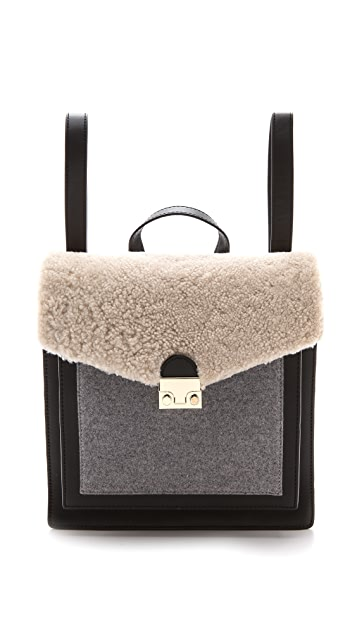 Loeffler Randall Shearling Lock Backpack