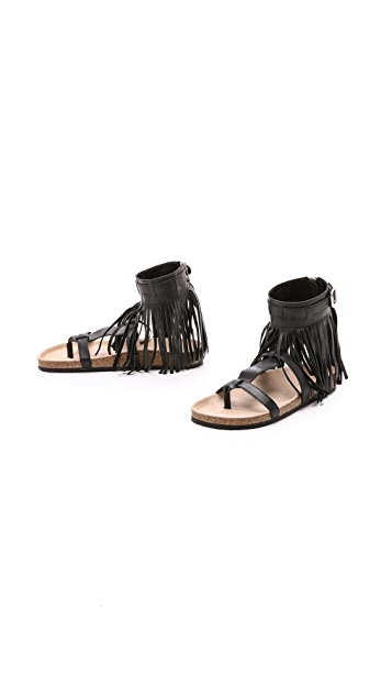 Loeffler Randall Perla Fringe Footbed Sandals