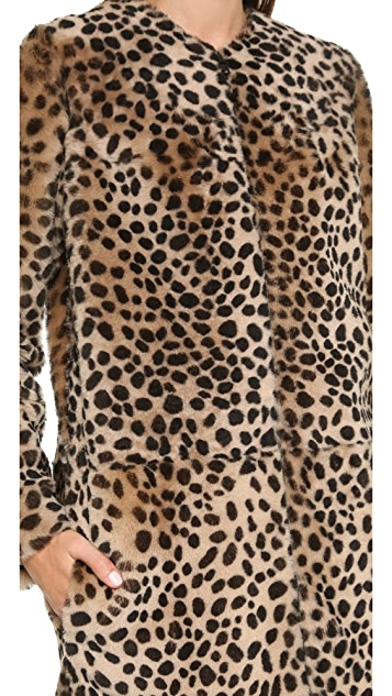 Loeffler Randall Long Cheetah Shearling Coat