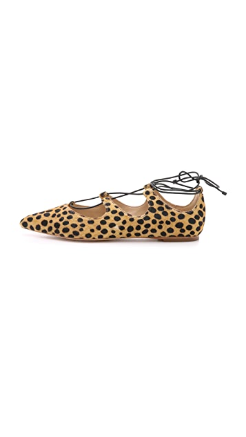 Loeffler Randall Ambra Haircalf Lace Up Flats