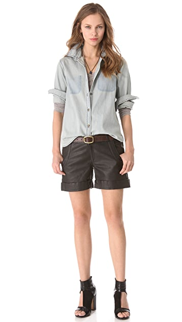 Lot78 Cuffed Leather Shorts