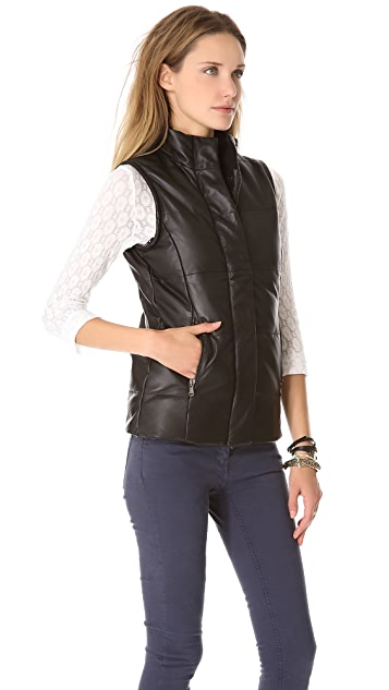 Lot78 Puffa Convertible Leather Vest / Coat