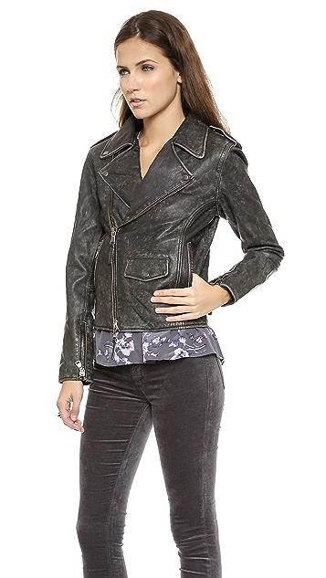 Lot78 Box Fit Leather Biker Jacket