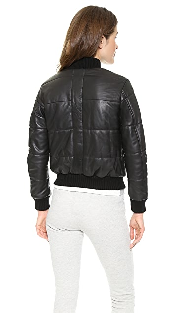 Lot78 Padded Leather Bomber Jacket