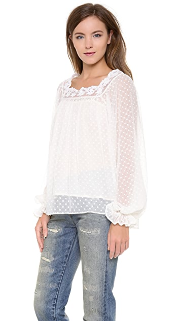 Love Sam Lace Peasant Top
