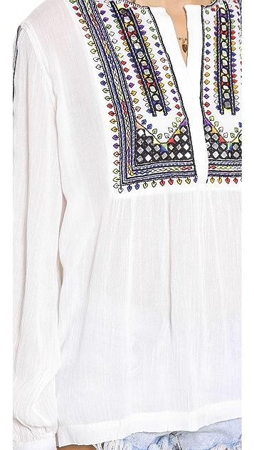 Love Sam Embroidered V Neck Blouse