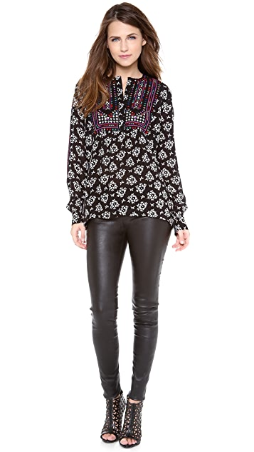 Love Sam Floral Embroidered V Neck Blouse
