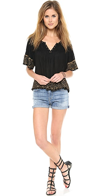 Love Sam Blouse with Metal Ikat Embellishment