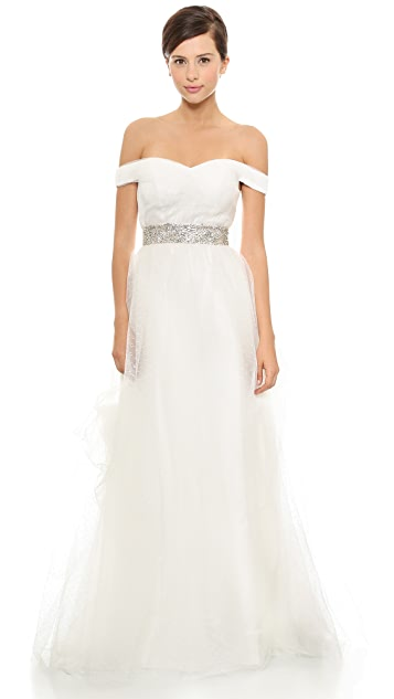 Love, Yu Kayla Off Shoulder Polka Dot Tulle Gown
