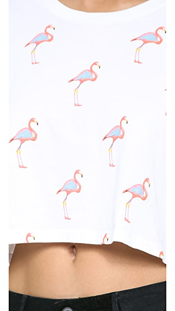 Lovers + Friends Cropped Flamingo Tee