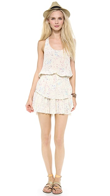 LOVESHACKFANCY Crystal Batik Ruffle Racer Mini Dress