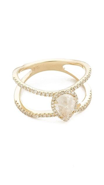 Luna Skye Double Band Moonstone Teardrop Ring