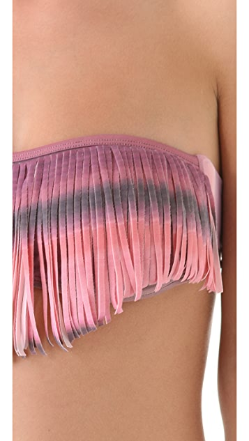 L*Space Santorini Sunrise Dolly Fringe Bandeau Bikini Top