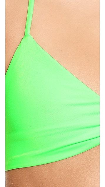 L*Space Neon Lime Mixer Strap Back Bikini Top