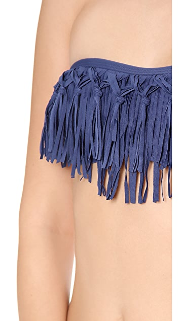 L*Space Dolly Knotted Fringe Bandeau Bikini Top