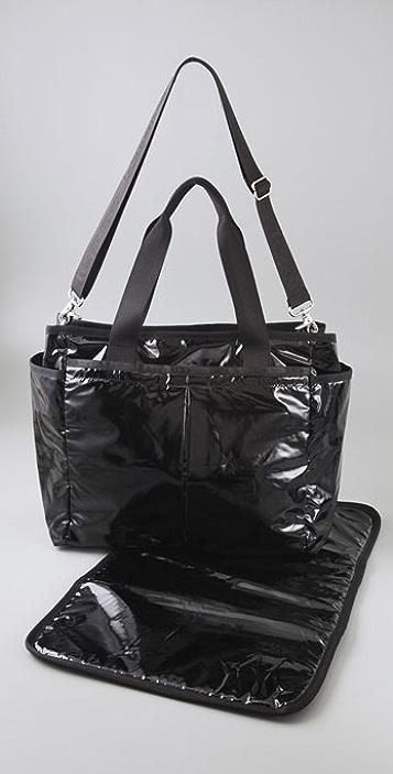 LeSportsac Black Patent Rian Baby Bag