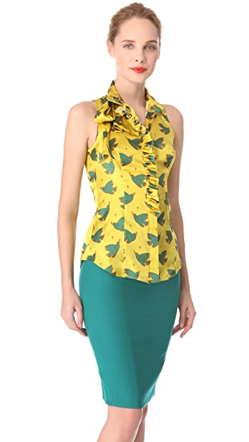 L'Wren Scott Peace & Love Tie Blouse