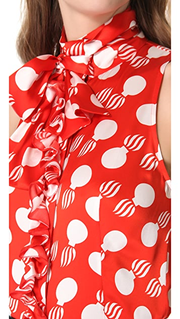 L'Wren Scott Bomb Print Tie Neck Blouse