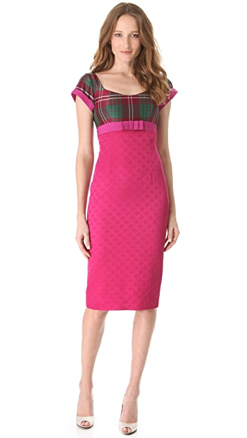 L'Wren Scott Plaid Top Dress with Bow
