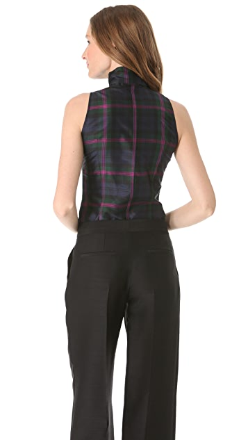 L'Wren Scott Sleeveless Plaid Top