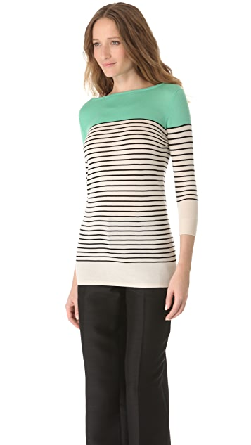 L'Wren Scott Striped Boat Neck Sweater