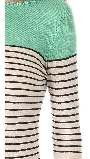 L'Wren Scott Striped Boat Neck Sweater