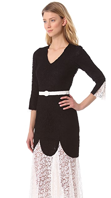 L'Wren Scott 3/4 Sleeve Lace Dress
