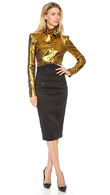 L'Wren Scott Long Sleeve Tie Neck Blouse