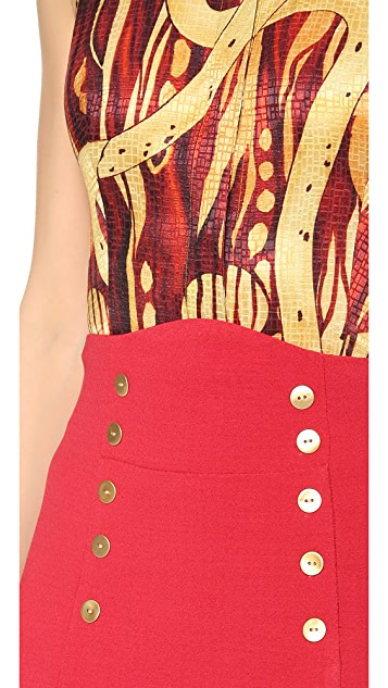 L'Wren Scott Gold Button Pencil Skirt