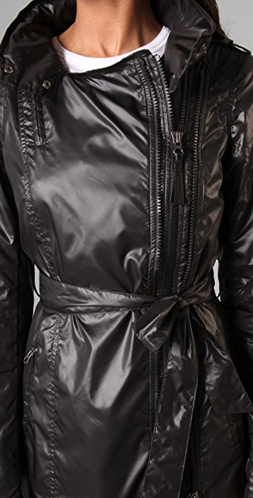 Mackage Long Rain Jacket with Hidden Hood