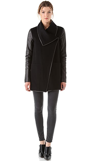Mackage Wool Coat with Leather Sleeves