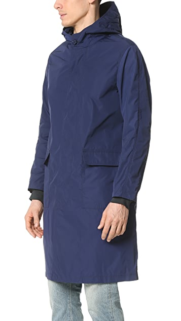 Mackintosh Hooded Nylon Overcoat with Patch Pockets