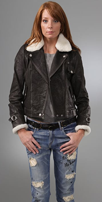 Madewell Ava Leather Biker Jacket with Shearling Collar