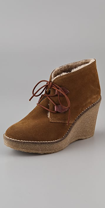 Madewell Wedge Suede and Sherpa Booties
