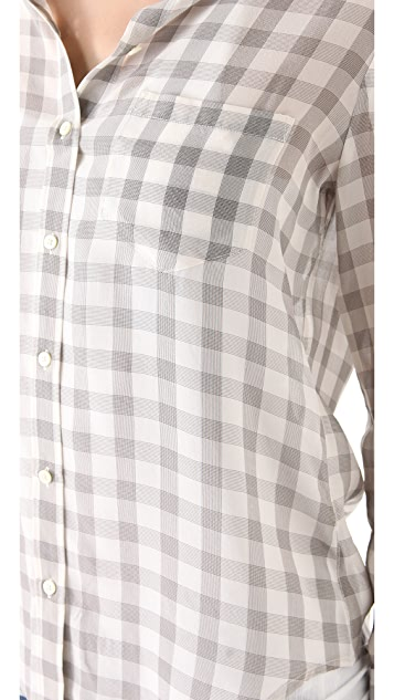 Madewell Gingham Silk Boy Shirt