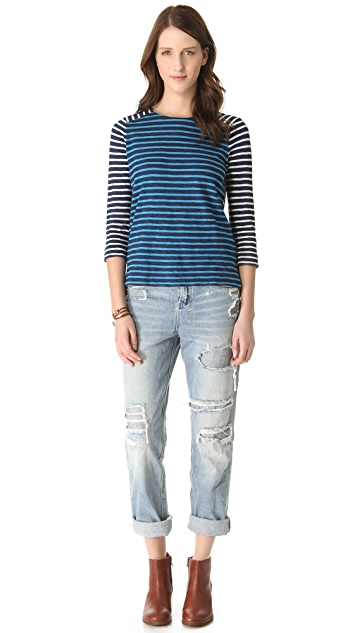 Madewell Stripe Colorblock Mix Indigo Tee