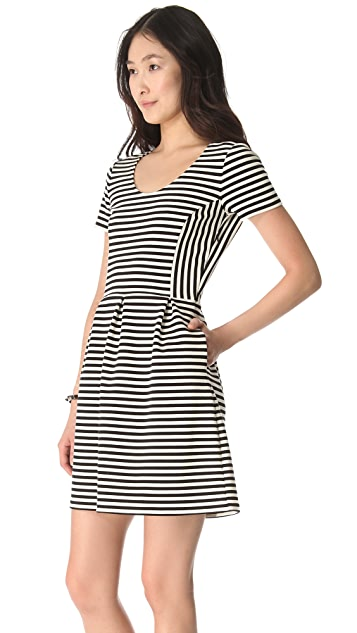 Madewell Black & White Stripe Knit Dress