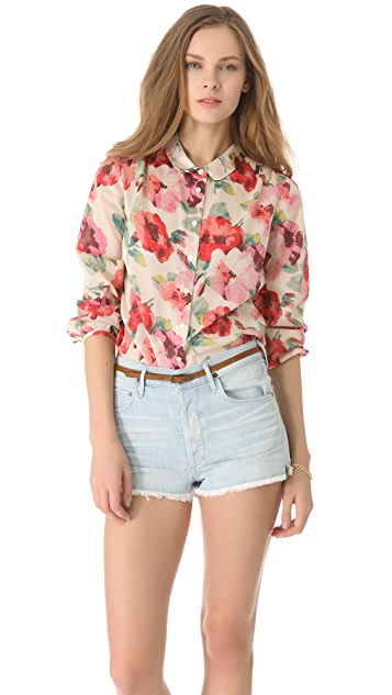 Madewell Printed Cotton Mia Blouse