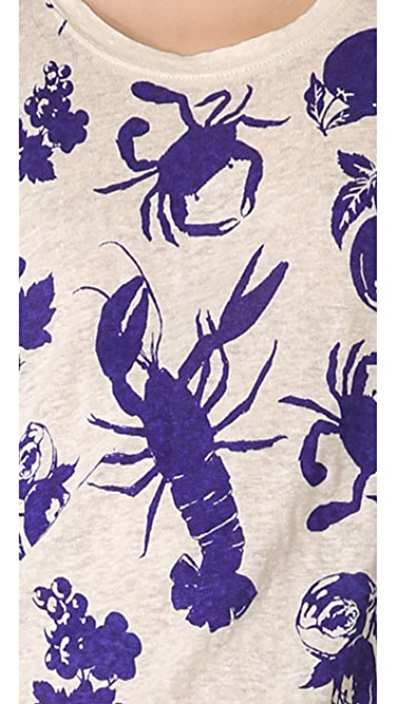 Madewell Linen Peeta Printed Summer Critters Tee