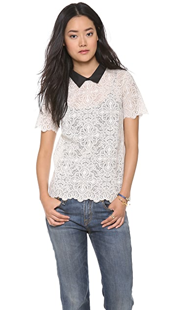 Madewell Lace Tee with Faux Leather Collar