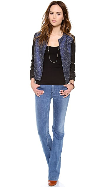 Madewell Bomber with Leather Sleeves