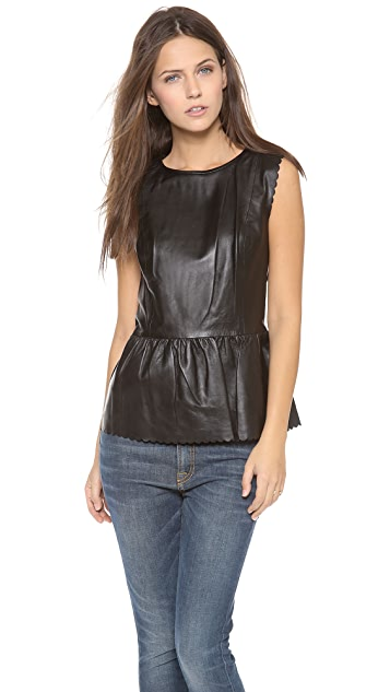 Madewell Leather Scallop Peplum Top