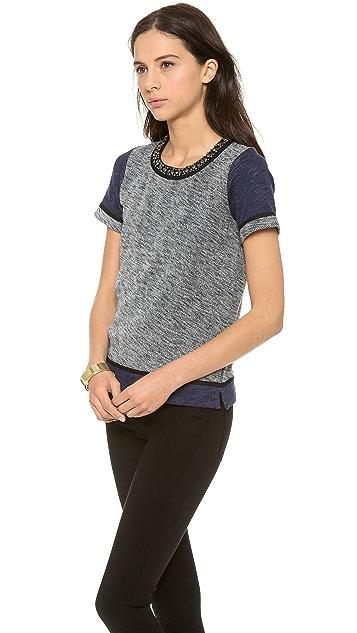 Madewell Colorblock Embellish Neck Sweatshirt Tee