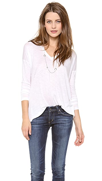 Madewell Oversized Long Sleeve Tee with V Neck