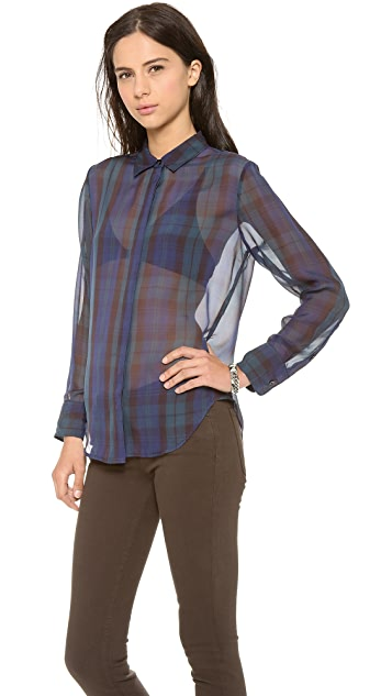 Madewell Silk Plaid Bromley Blouse