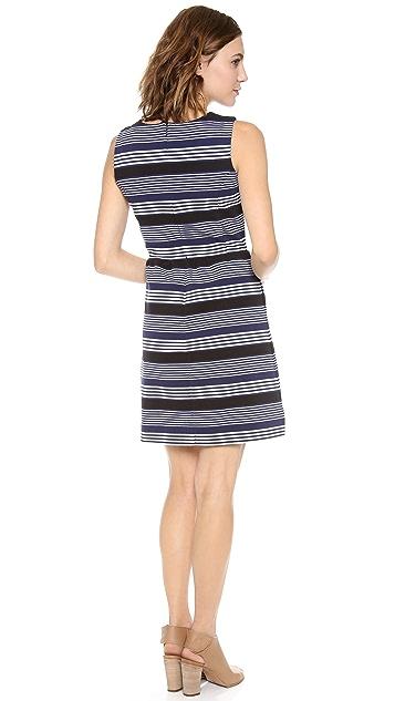 Madewell V Neck Ottoman Ridge Stripe Dress