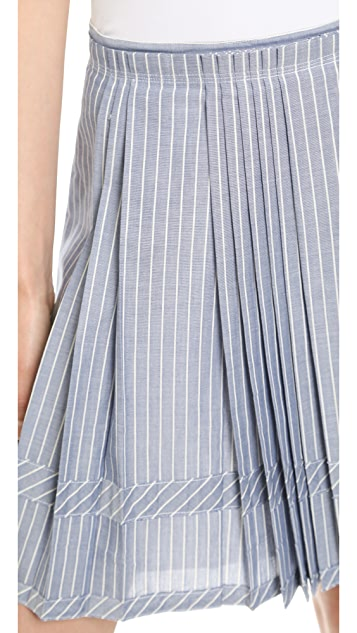 Madewell Pleated Shirtstripe Skirt