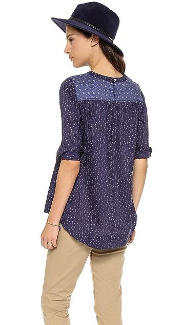 Madewell Indigo Paisley 3/4 Sleeve Top