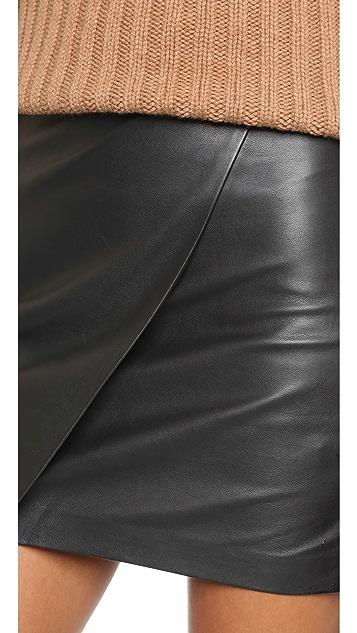 Madewell Leather Overlap Skirt